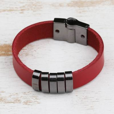 Leather wristband bracelet, 'Grey Planets, Red Universe' - Modern Red Leather Wristband Bracelet from Brazil