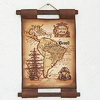 Leather wall map, 'Map of Latin America' - Hand Crafted Leather Map of Latin America