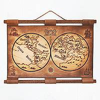 Leather wall map, 'Novo Mundo 1520' - Leather Wall Display Map of New World