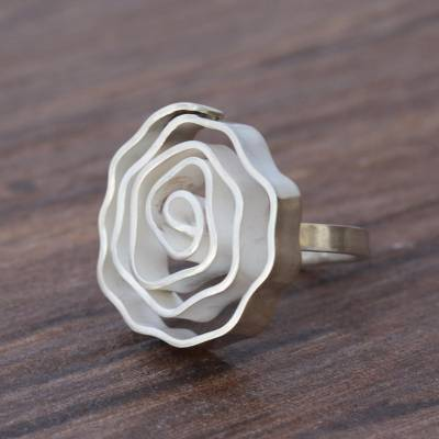 Silver cocktail ring, 'Modern Rose' - Handmade 950 Silver Modern Floral Ring