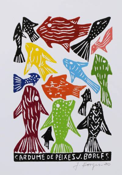 Colorful Fish Woodcut Print by J. Borges in Brazil