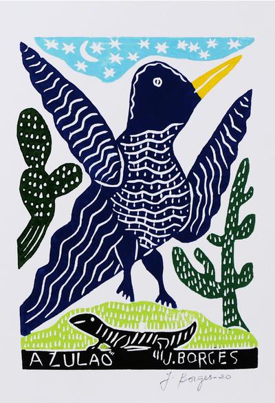 Brazilian Fine Art Bluebird Woodcut Print by J. Borges