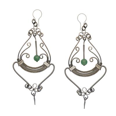 Quartz chandelier earrings, 'Pendulum Swing' - Stainless Steel Earrings with Quartz