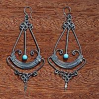 Stainless steel chandelier earrings, 'Art Deco Pendulum' - Long Chandelier Earrings from Brazil