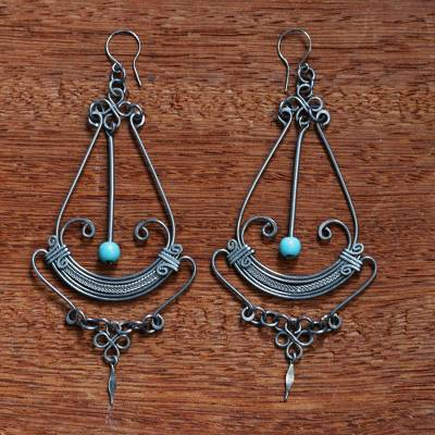 Stainless steel chandelier earrings, 'Art Deco Pendulum' - Long Chandelier Earrings from Brazil