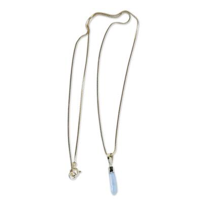 Crystal Quartz Necklace of Gold Plated Brass from Brazil