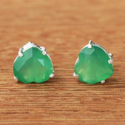 Chrysoprase stud earrings, 'Heart of Light' - Brazil Heart-Shaped Green Chrysoprase Stud Earrings