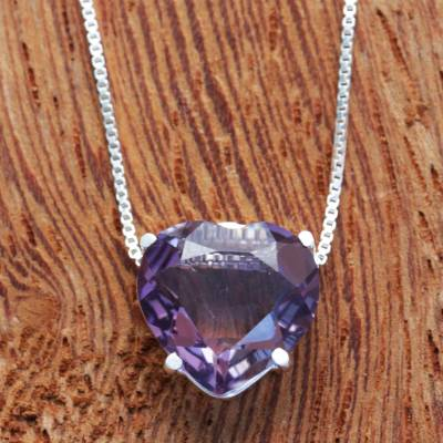 Amethyst pendant necklace, 'Heart of Light' - Brazil Heart-Shaped Faceted Amethyst Pendant Necklace