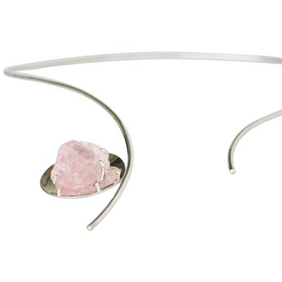 Rose quartz collar necklace, 'Private Affair' - Modern Rose Quartz Collar Necklace
