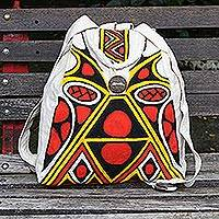 Hand-painted cotton backpack, 'Tribal Origins' - Hand Crafted Pataxo Motif Backpack