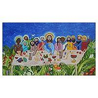 'Inclusive Last Supper' - Signed Naif Painting of the Last Supper