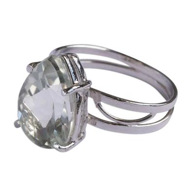 Pear-Shaped Prasiolite Ring