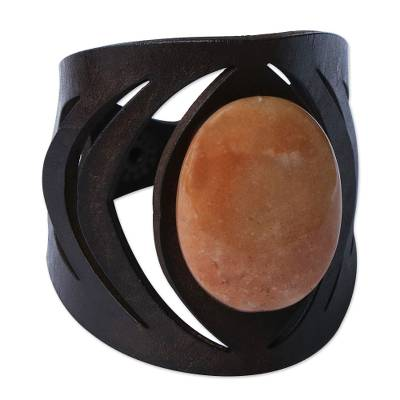Modern Leather and Carnelian Bracelet