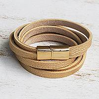 Gold-accented leather wrap bracelet, 'Summer Gold' - Golden Leather Wrap Bracelet