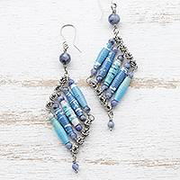 Recycled paper and sodalite dangle earrings, 'Cool Diamonds' - Sodalite and Recycled Paper Eco-Friendly Earrings