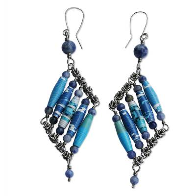 Sodalite and Recycled Paper Eco-Friendly Earrings
