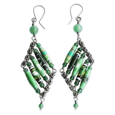 Green Quartz and Recycled Paper Eco-Friendly Earrings