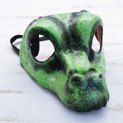 Leather mask, 'Alligator' (7 inch) - Handmade Green Alligator Leather Mask (7 Inch)