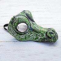 Leather mask, 'Alligator' (9 inch)