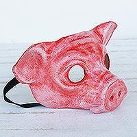 Leather mask, 'Carnival Pig'