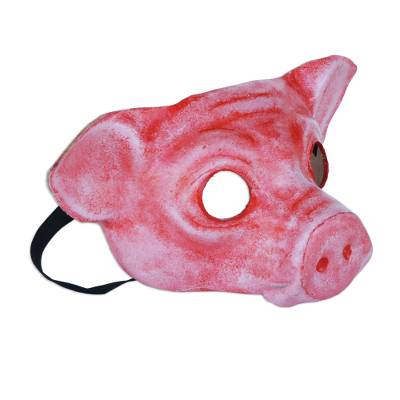 Leather mask, 'Carnival Pig' - Painted Leather Pig Mask from Brazil