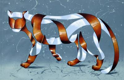Ricardo Siccuro Signature Surreal Tiger Painting from Brazil