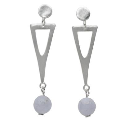 Lavender Chalcedony Dangle Earrings