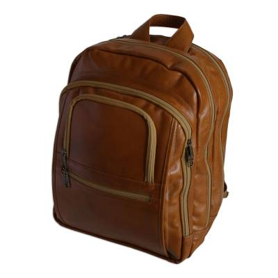 Caramel and Beige Leather Padded Backpack from Brazil