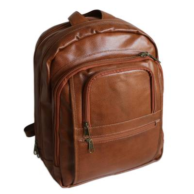 Spice Brown and Orange Leather Padded Backpack from Brazil
