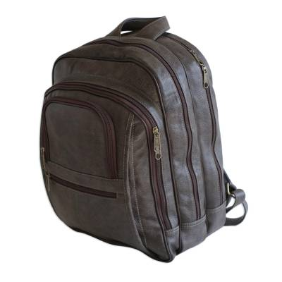 Chocolate Brown Leather Padded Backpack from Brazil