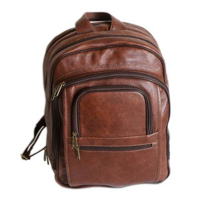 Caramel and Brown Leather Padded Backpack from Brazil