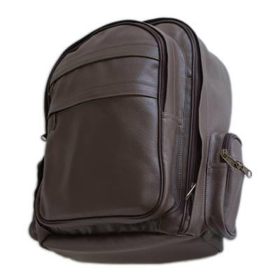 Matte Coffee Brown Leather Padded Backpack from Brazil