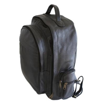Matte Black Leather Padded Backpack from Brazil