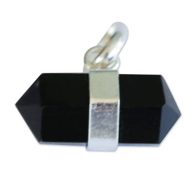 Pointed Faceted Obsidian Pendant from Brazil