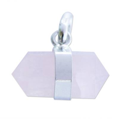 Pointed Faceted Rose Quartz Pendant from Brazil