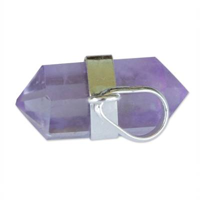 Pointed Faceted Amethyst Pendant from Brazil