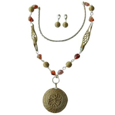 Agate and Golden Grass Jewelry Set