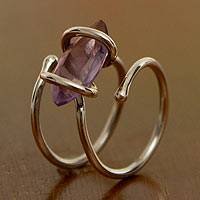 Amethyst cocktail ring, 'Transformation' - Contemporary Handcrafted Amethyst and Sterling Ring