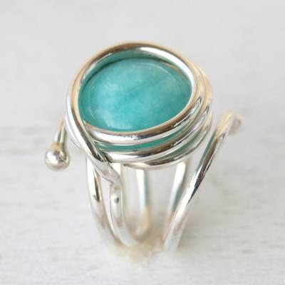 Amazonite cocktail ring, 'Amazon Spiral' - Unique Modern Brazilian Amazonite Ring