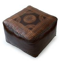 Leather ottoman cover, 'Moon' - Brazilian Leather Ottoman Cover