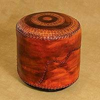 Leather ottoman cover, 'Sunflower' - Leather ottoman cover