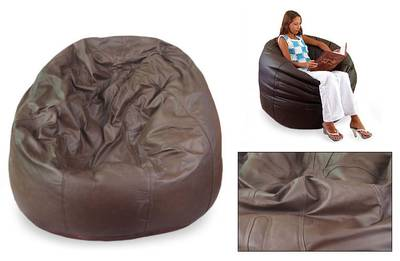 Leather beanbag chair cover, 'Embrace' (single) - Contemporary Leather Beanbag Chair Cover (Single)