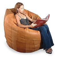 Leather beanbag chair cover, 'Caress' (single) - Leather beanbag chair cover (Single)
