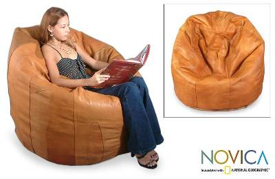 Caress Leather Beanbag Chair Cover Single