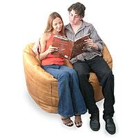 Leather beanbag chair cover, 'Couple' (double) - Unique Contemporary Leather Beanbag Furniture (Double)