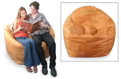 Couple Unique Contemporary Leather Beanbag Furniture (Double)