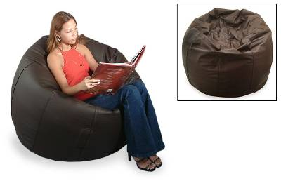 Leather beanbag chair cover, 'Deep Brown' (single) - Leather beanbag chair cover (Single)