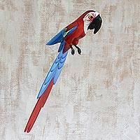 Carving, 'Blue and Red Brazilian Macaw' - Carving