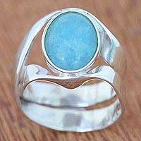 Aquamarine ring, 'Imagine' - Sterling Silver and Aquamarine Ring from Brazil