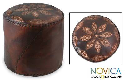 Leather ottoman cover, 'Flower of Peace' (dark brown) - Unique Floral Leather Ottoman Cover